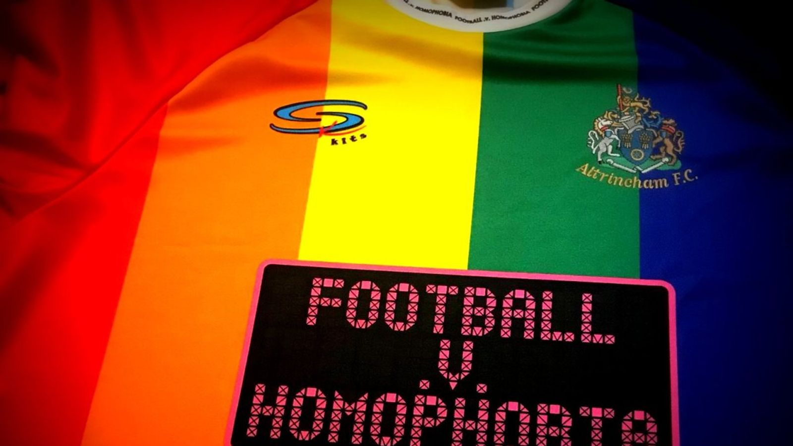 71a1c5979 Altrincham FC s rainbow kit for Football v Homophobia sparks global  interest.