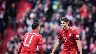 Bayern Munich players celebrate a goal against Hertha Berlin
