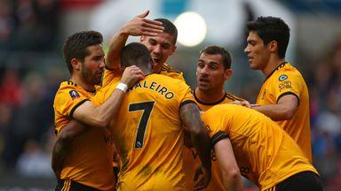 Wolves celebrate Ivan Cavaleiro's opener at Bristol City