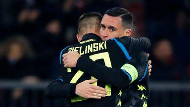 Piotr Zielinski celebrates with Jose Callejon after scoring Napoli's third goal