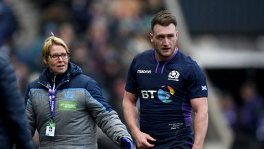 Stuart Hogg goes off against Ireland with a shoulder injury