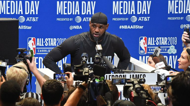 LeBron James faces the press at All-Star Game media day