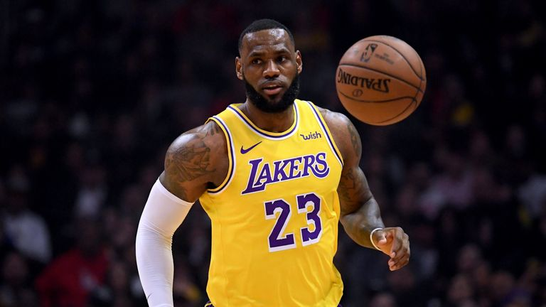 LeBron James in action for the Los Angeles Lakers