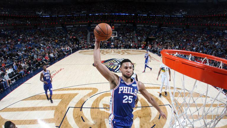Ben Simmons of the Philadelphia 76ers dunks the ball against the New Orleans Pelicans