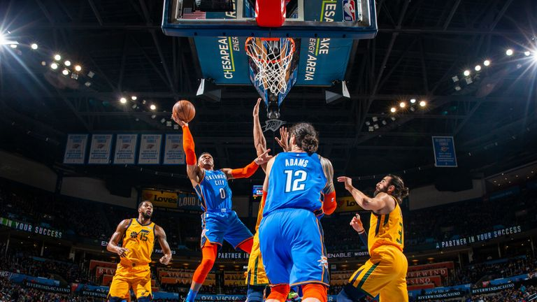 Russell Westbrook soars to the basket against Utah