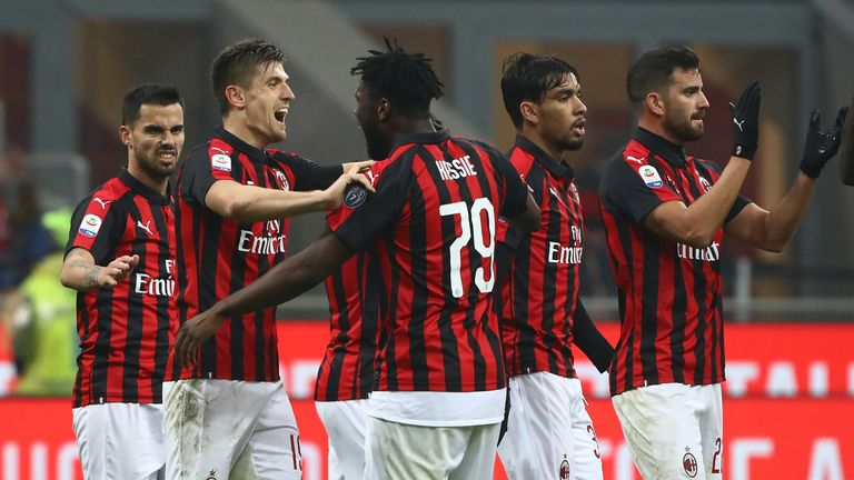 Krzysztof Piatek celebrates his goal for AC Milan in their 3-0 win over Cagliari