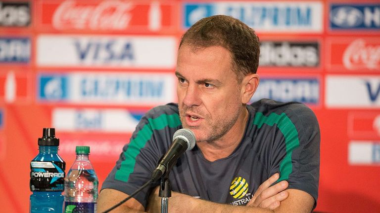 Alen Stajcic addresses the media at the Women's World Cup in Canada