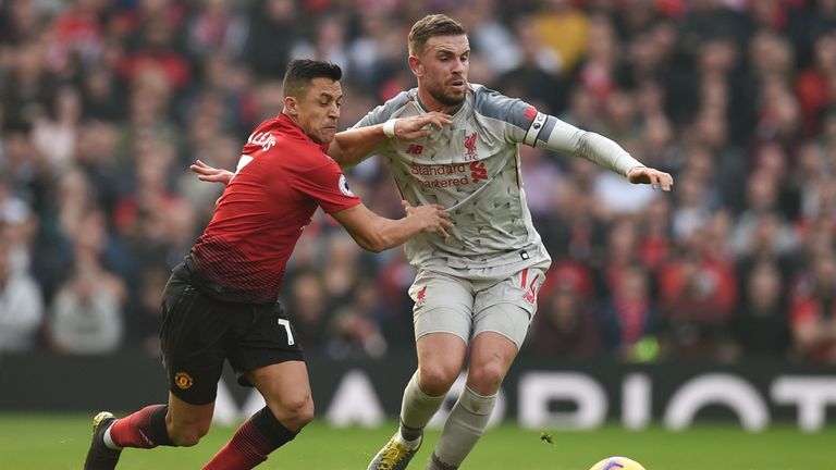 Jordan Henderson and Alexis Sanchez battle for possession at Old Trafford