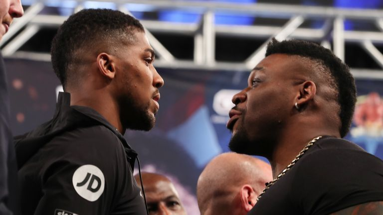 February 19, 2019; New York, NY, USA; WBA Super, IBF, WBO and IBO heavyweight champion Anthony Joshua and challenger Jarrell Miller pose after the press conference announcing their June 1, 2019 fight at Madison Square Garden in New York City.  Mandatory Credit: Ed Mulholland/Matchroom Boxing USA