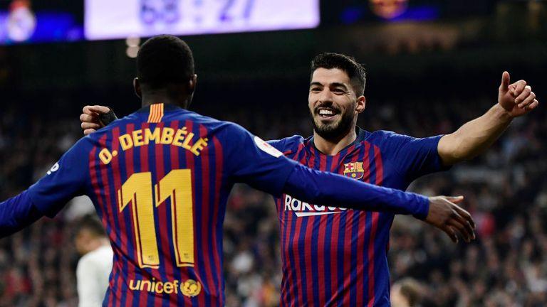 2b06e0628078b Luis Suarez scored twice as Barcelona beat Real Madrid to reach the Copa  del Rey final