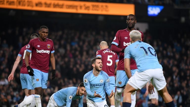 Bernardo Silva shows his frustration as West Ham defended well