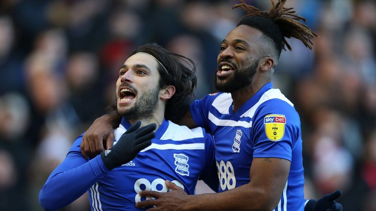 Birmingham City's Jota (left) celebrates scoring against Nottingham Forest