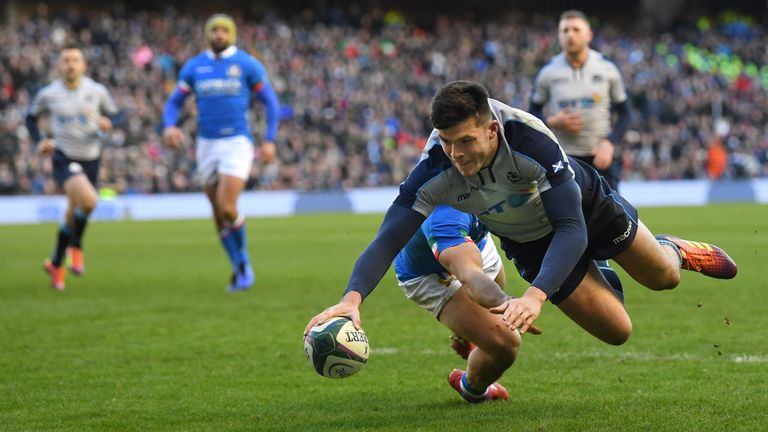 Blair Kinghorn has dropped to the Scotland bench despite his hat-trick against Italy