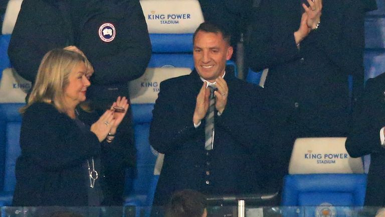 Brendan Rodgers watches Leicester beat Brighton after being confirmed as manager