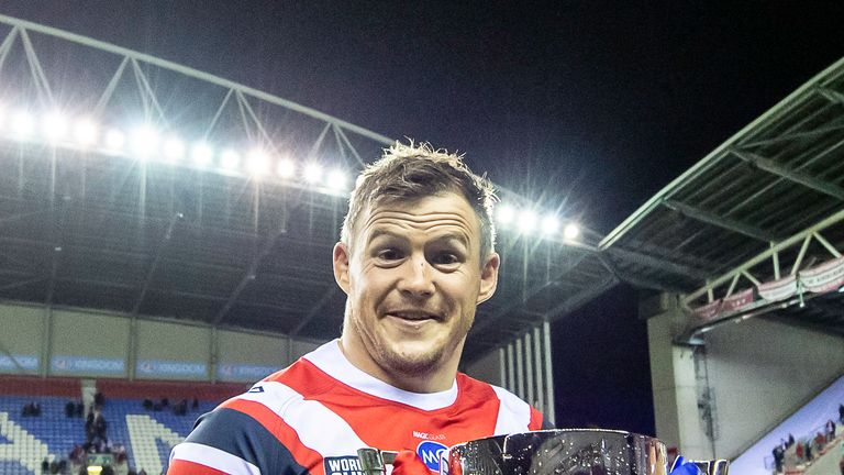 Picture by Allan McKenzie/SWpix.com - 17/02/2019 - Rugby League - World Club Challenge - Wigan Warriors v Sydney Roosters - DW Stadium, Wigan, England - Hat-trick try scorer Brett Morris with the World Club Challenge trophy.