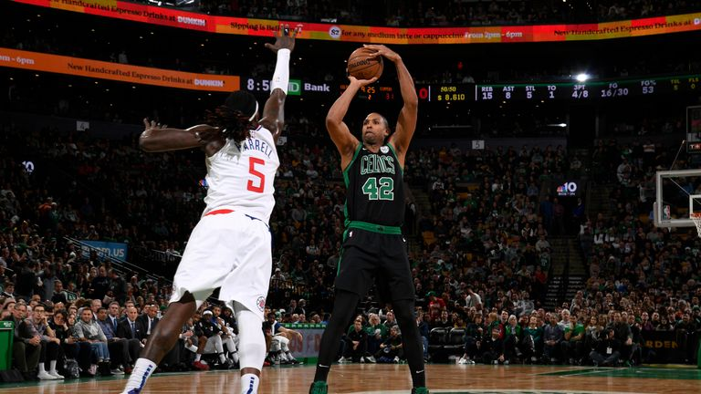 BOSTON, MA - FEBRUARY 9: Al Horford #42 of the Boston Celtics shoots mid range jumper over Montreal Harrell #5 of the LA Clippers on February 9, 2019 at the TD Garden in Boston, Massachusetts.  NOTE TO USER: User expressly acknowledges and agrees that, by downloading and or using this photograph, User is consenting to the terms and conditions of the Getty Images License Agreement. Mandatory Copyright Notice: Copyright 2019 NBAE  (Photo by Brian Babineau/NBAE via Getty Images)