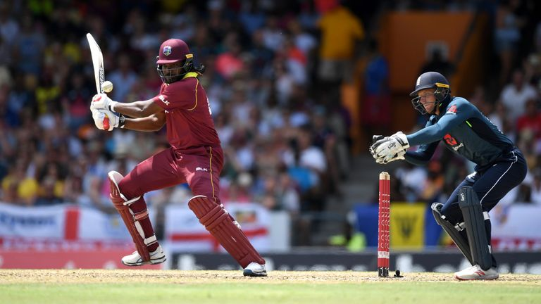 Windies' Chris Gayle in action against England