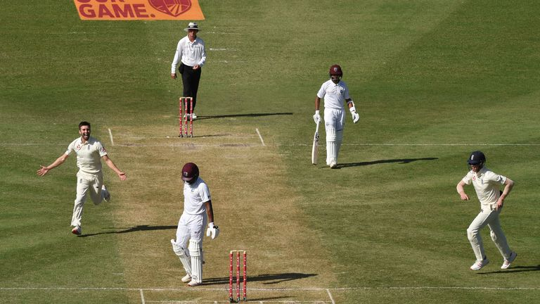 Mark Wood celebrates his dismissal of Darren Bravo