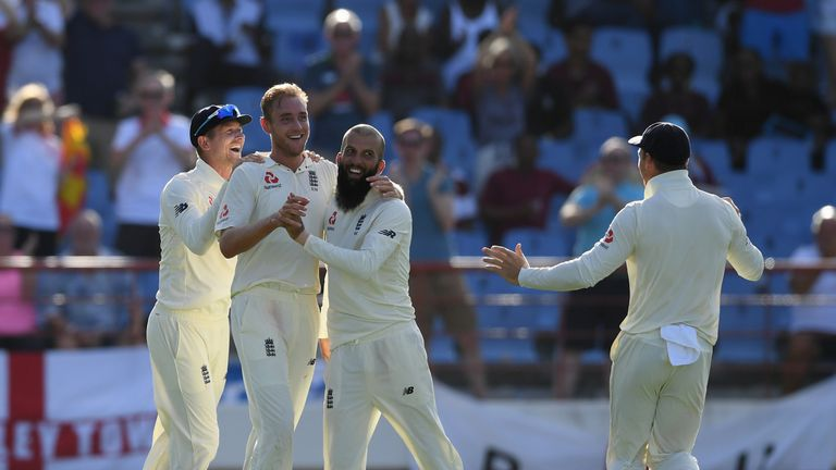 Stuart Broad celebrates his catch in St Lucia with Moeen Ali