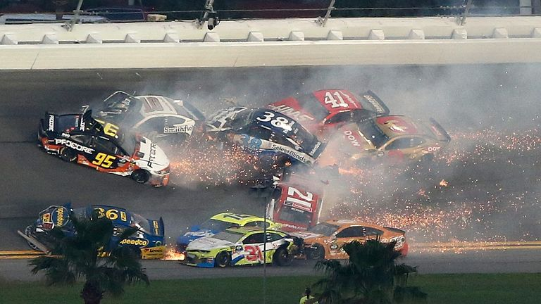 """""""I wrecked a lot of cars and I feel bad about that,"""" said driver Paul Menard"""