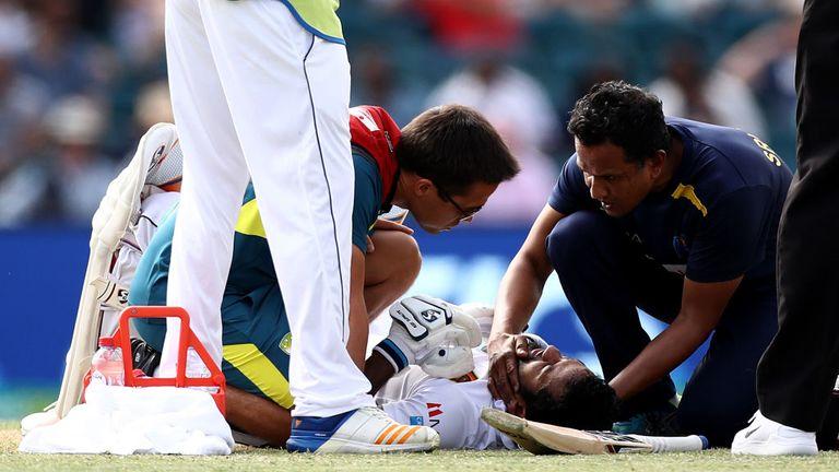 Sri Lankan opener Dimuth Karunaratne stretchered from ground after sickening head-knock