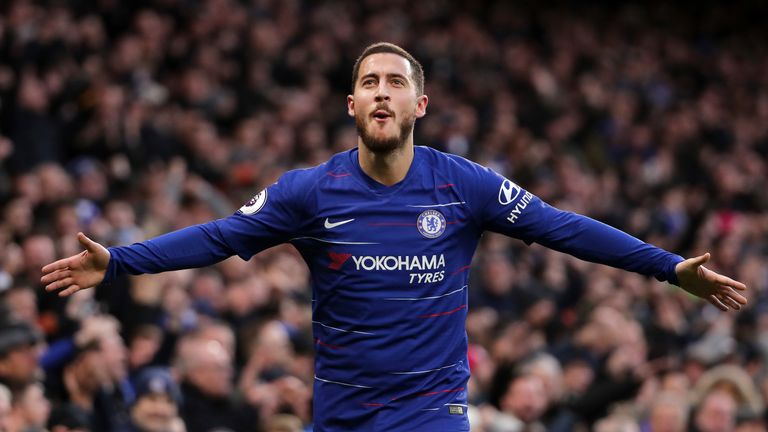 Eden Hazard celebrates scoring his second goal against Huddersfield