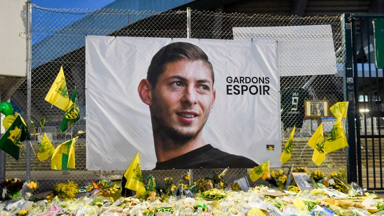 A large portrait of Emiliano Sala is displayed outside FC Nantes' Stade de la Beaujoire