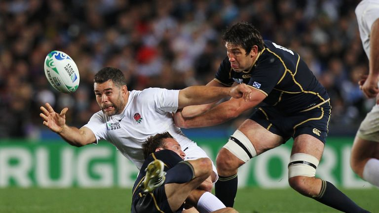 Nick Easter in action for England at Rugby World 2011