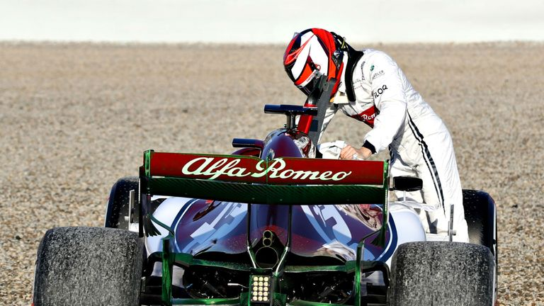Kimi Raikkonen caused two red flags, one early on after spinning into the gravel.