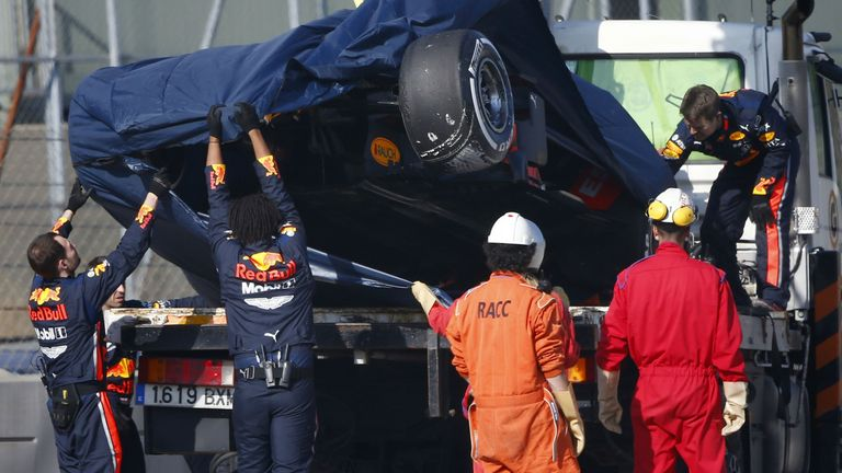 Pierre Gasly set Red Bull's fastest lap of winter, but crashed on his 65th lap