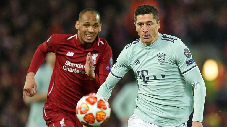 Fabinho and Robert Lewandowski in action in the Champions League tie between Liverpool and Bayern Munich at Anfield in February 2019