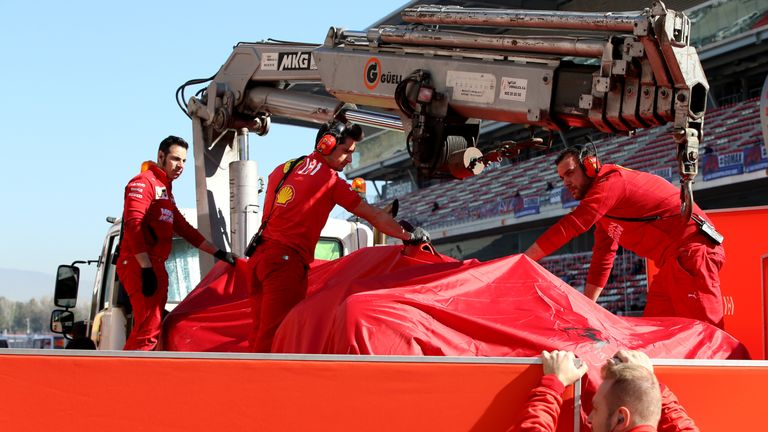 Ferrari say Vettel is 'ok' after crash in F1 testing
