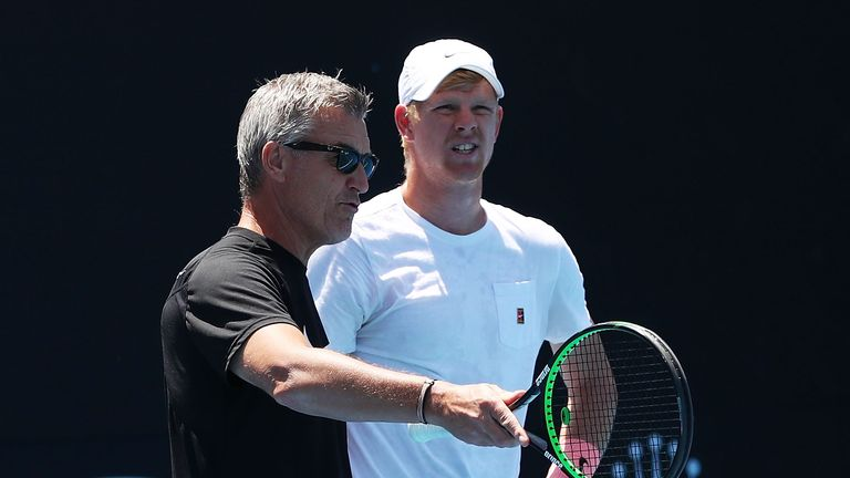 Coach Fredrik Rosengren (L) is seen working with Kyle Edmund of Great Britain during a practice session on day 10 of the 2018 Australian Open at Melbourne Park on January 24, 2018 in Melbourne, Australia