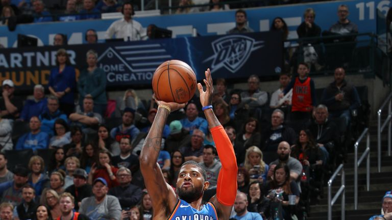 OKLAHOMA CITY, OK- FEBRUARY 22: Paul George #13 of the Oklahoma City Thunder shoots the ball against the Utah Jazz on February 22, 2019 at Chesapeake Energy Arena in Oklahoma City, Oklahoma. NOTE TO USER: User expressly acknowledges and agrees that, by downloading and or using this photograph, User is consenting to the terms and conditions of the Getty Images License Agreement. Mandatory Copyright Notice: Copyright 2019 NBAE (Photo by Zach Beeker/NBAE via Getty Images)
