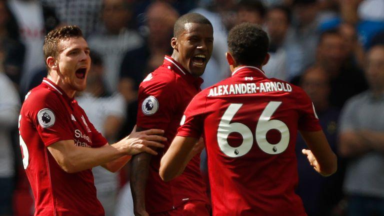 Wijnaldum celebrates his goal for Liverpool against Tottenham at Wembley