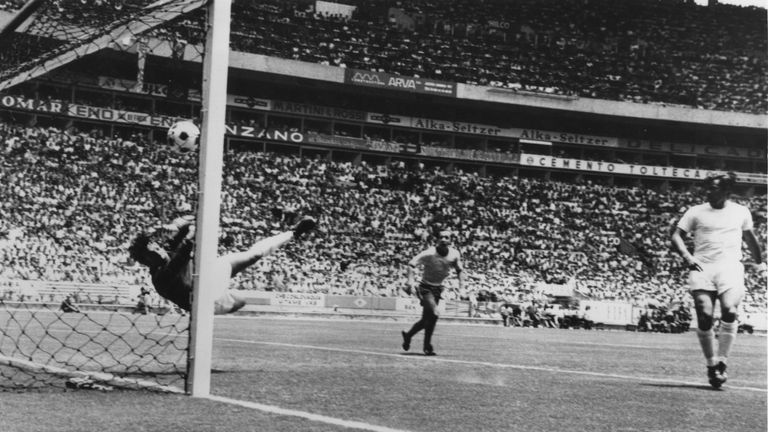 Gordon Banks makes a remarkable save from a header by Pele during their first round match in the World Cup at Guadalajara, Mexico, June 1970