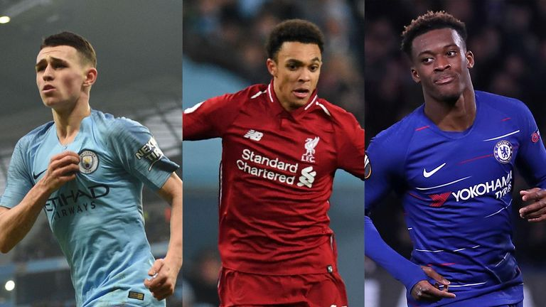 Phil Foden, Trent Alexander-Arnold and Callum Hudson-Odoi (left to right)