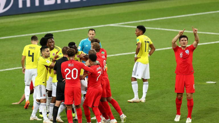 England's Harry Maguire calls for VAR after a clash between Jordan Henderson and Colombia's Wilmar Barrios at the 2018 World Cup
