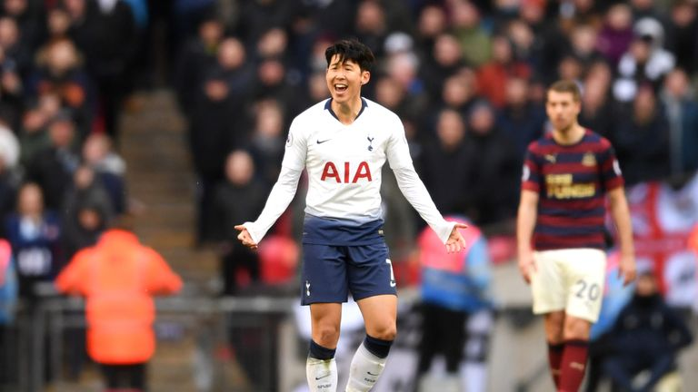 Heung-min Son celebrates his goal against Newcastle