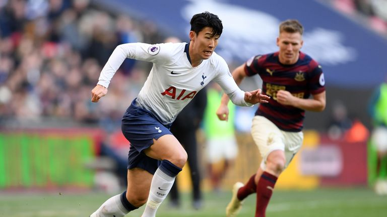 Heung-min Son in action at Wembley against Newcastle United