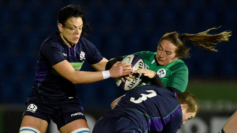 Scotland's Megan Kennedy tackles Nicole Fowley during Ireland's win on Friday