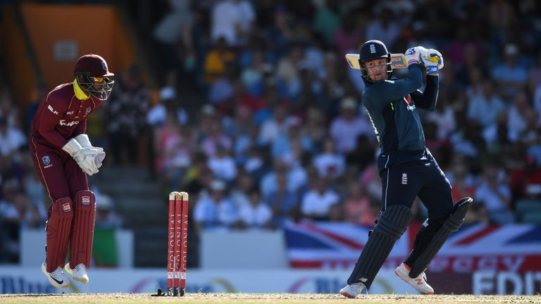 Jason Roy plays a shot against the Windies