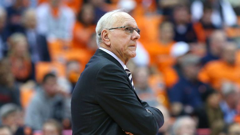 SYRACUSE, NY - DECEMBER 04:  Head coach Jim Boeheim of the Syracuse Orange reacts to a play against the Northeastern Huskies during the second half at the Carrier Dome on December 4, 2018 in Syracuse, New York. Syracuse defeated Northeastern 72-49. (Photo by Rich Barnes/Getty Images) *** Local Caption *** Jim Boeheim