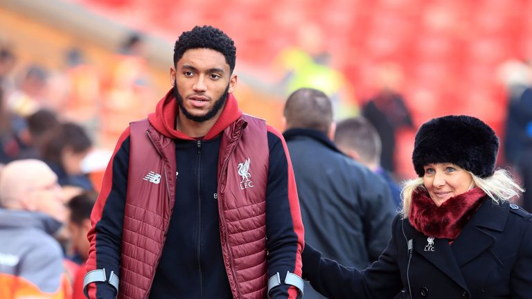Joe Gomez sustained a fractured lower leg at Burnley in December