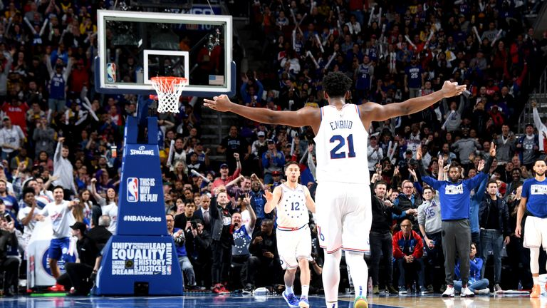 Joel Embiid of the Philadelphia 76ers reacts against the Los Angeles Lakers
