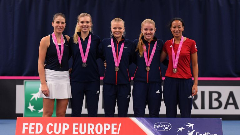 Johanna Konta, Katie Boulter, Harriet Dart, Katie Swan and Anne Keothavong after winning their Europe/Africa Zone Group 1 play-off