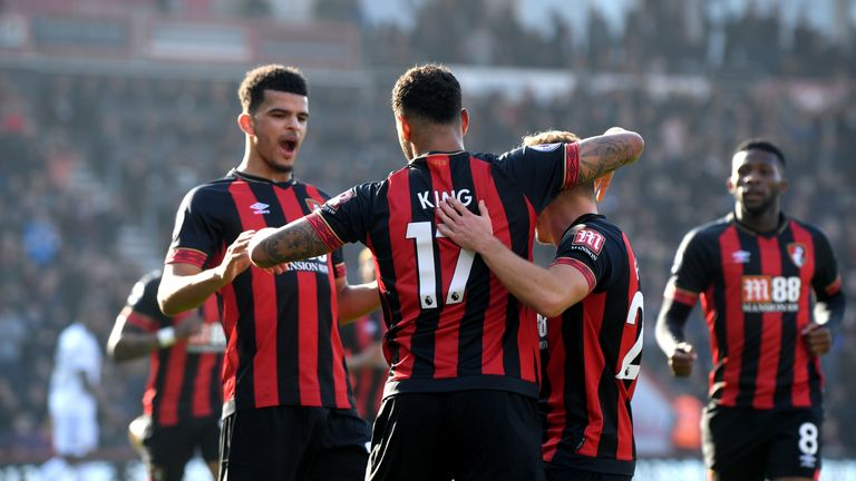 King celebrates with Bournemouth team-mates after giving his side the lead