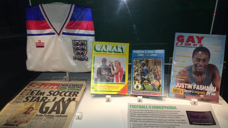 Memorabilia of Justin Fashanu, including The Sun newspaper from 22 October 1990, on permanent display at the National Football Museum (picture courtesy of Alan Quick)