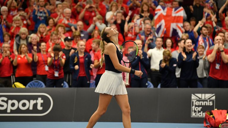Konta survives scare to fire Great Britain to Fed Cup promotional play-off