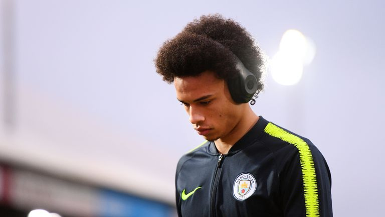 Leroy Sane arrives for Manchester City's FA Cup tie at Newport